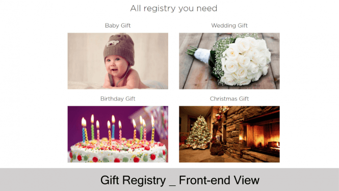 Default Gift Registry on store