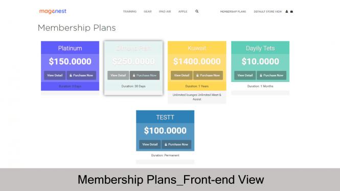 Membership Plans on Magento 2 Store