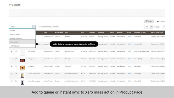 Admin can add data to queue or sync data to Xero instantly in Product page