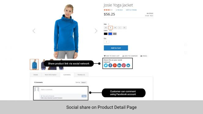 Customer can share the product link to their social network, as well as comment on the product page using their Facebook account