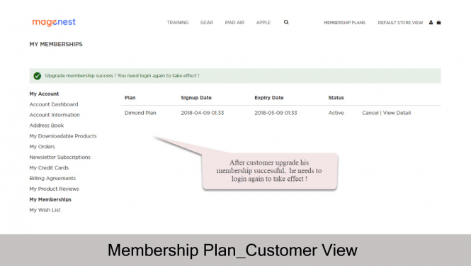 Magento 2 Membership Extension My memberships_Front-end View