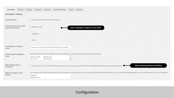 WooCommerce gift registry configuration