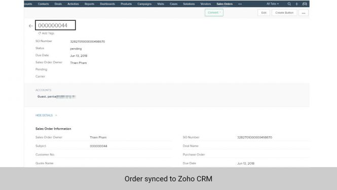 Orders synchronized from Magento 2 to Sales Orders in Zoho CRM