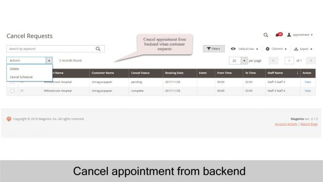 Easily cancel appointment from admin panel when customer makes an appointment cancel request
