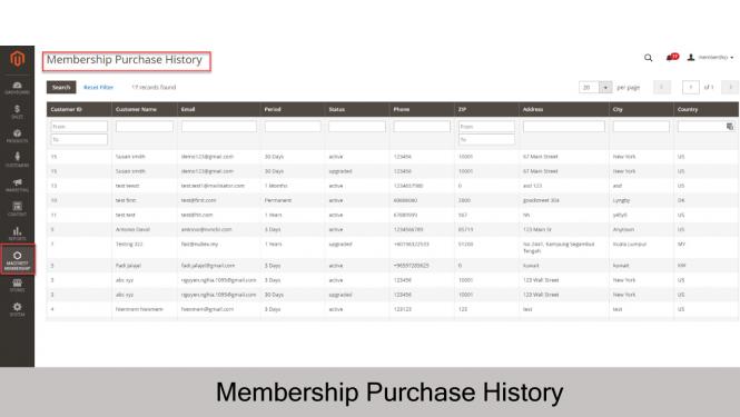Magento 2 Membership Extension Membership Purchase History on Magento 2
