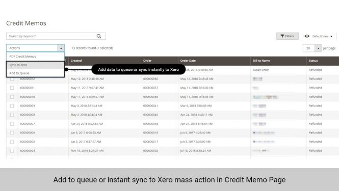 Admin can add data to queue or sync data to Xero instantly in Credit Memo page