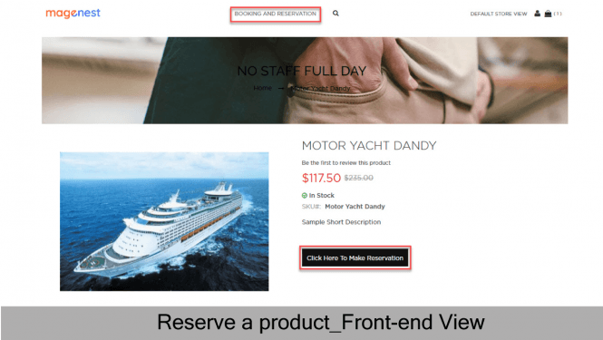 Product Reservation Front-end View
