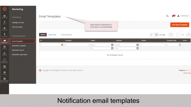 Magento 2 Membership Extension Notification email templates management on Magento 2