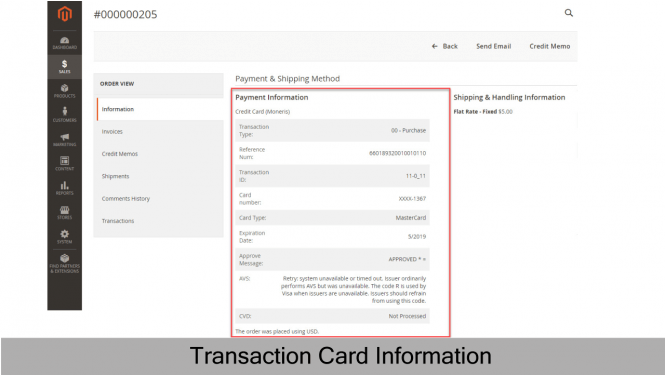 Transaction card information