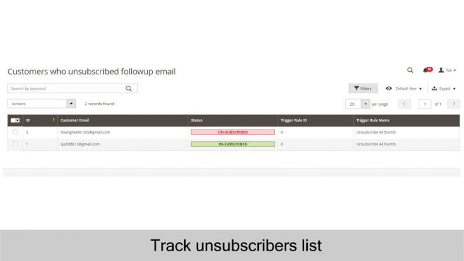Magento 2 Follow Up Email Admin can track unsubscribers list to see who unsubscribed the follow up emails/newsletter