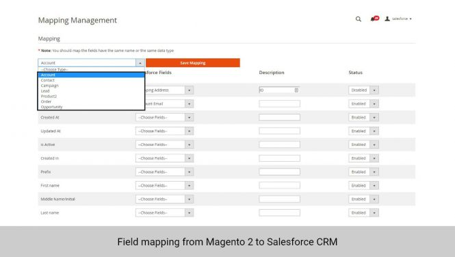 Admin can set field mapping for data from Magento 2 to Salesforce CRM