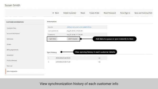 Admin can view sync history of each customer in that customer's info