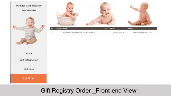 Gift Registry Order List