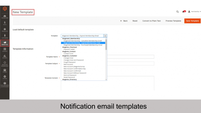 Magento 2 Membership Extension Create email templates to send notifications to members