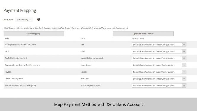 Admin can map payment method with Xero Bank Account