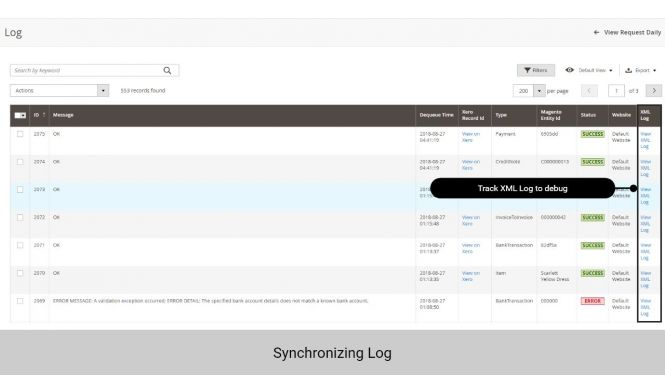 Admin can track the synchronization log