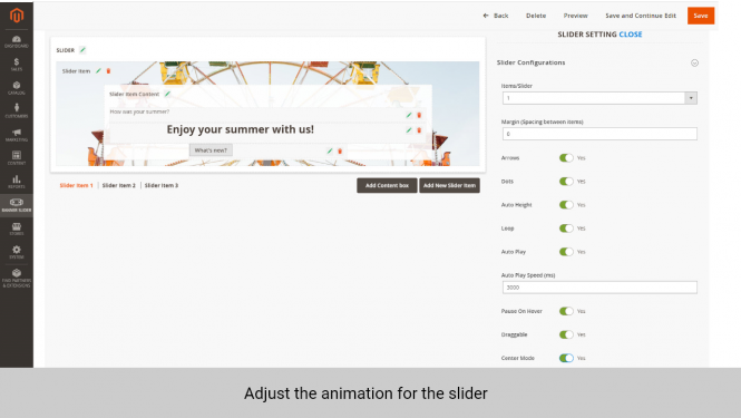 Magento banner extension adjust animation for slider