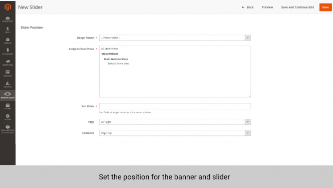 Magento 2 banner extension set position for banner and slider