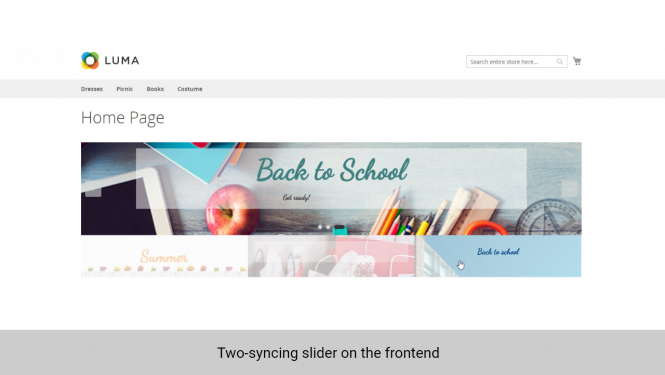 Magento 2 banner slider widget two-syncing slider