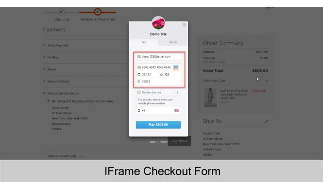 Stripe Payment with IFrame Checkout Form (Card, Bitcoin)