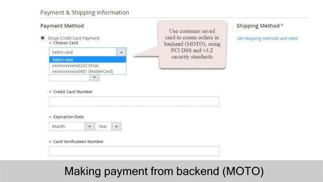 Making payment from Magento backend (MOTO) using Stripe saved cards function