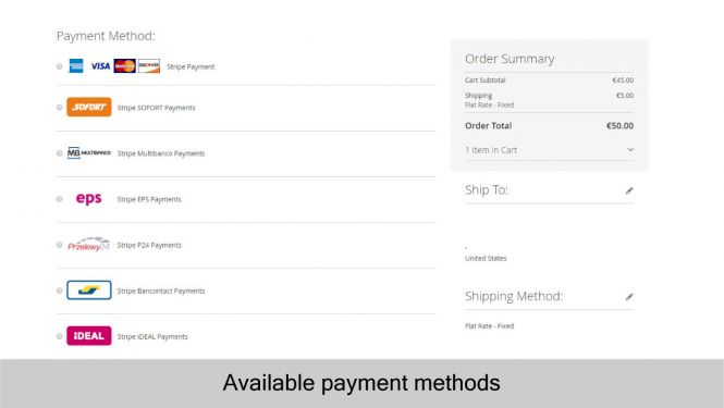 Magento 2 Stripe Payment Extension support mutiple payment methods