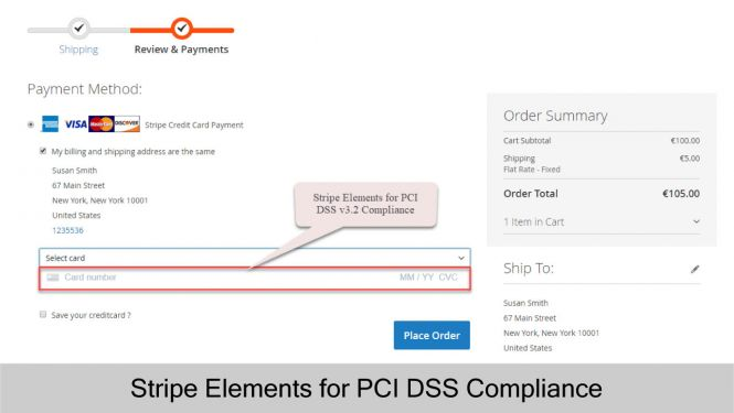 Highly secured with Stripe Elements for PCI DSS v3.2 Compliance