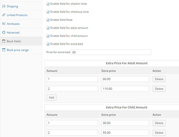 enable booking fields backend