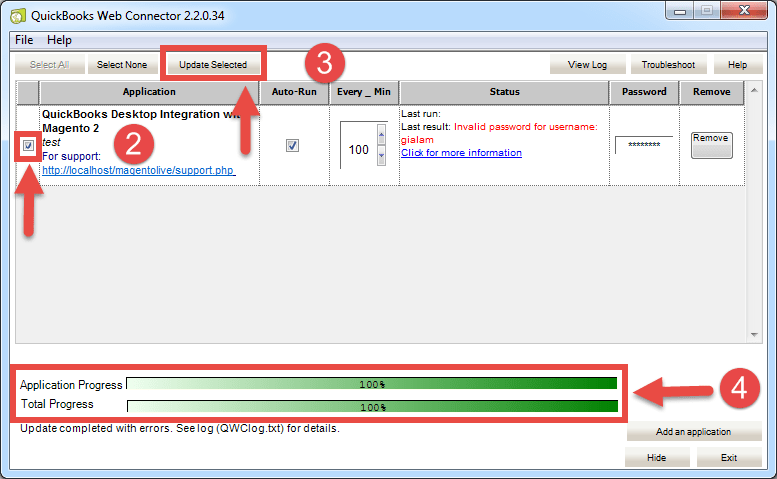 sync from Quickbooks Web Connector