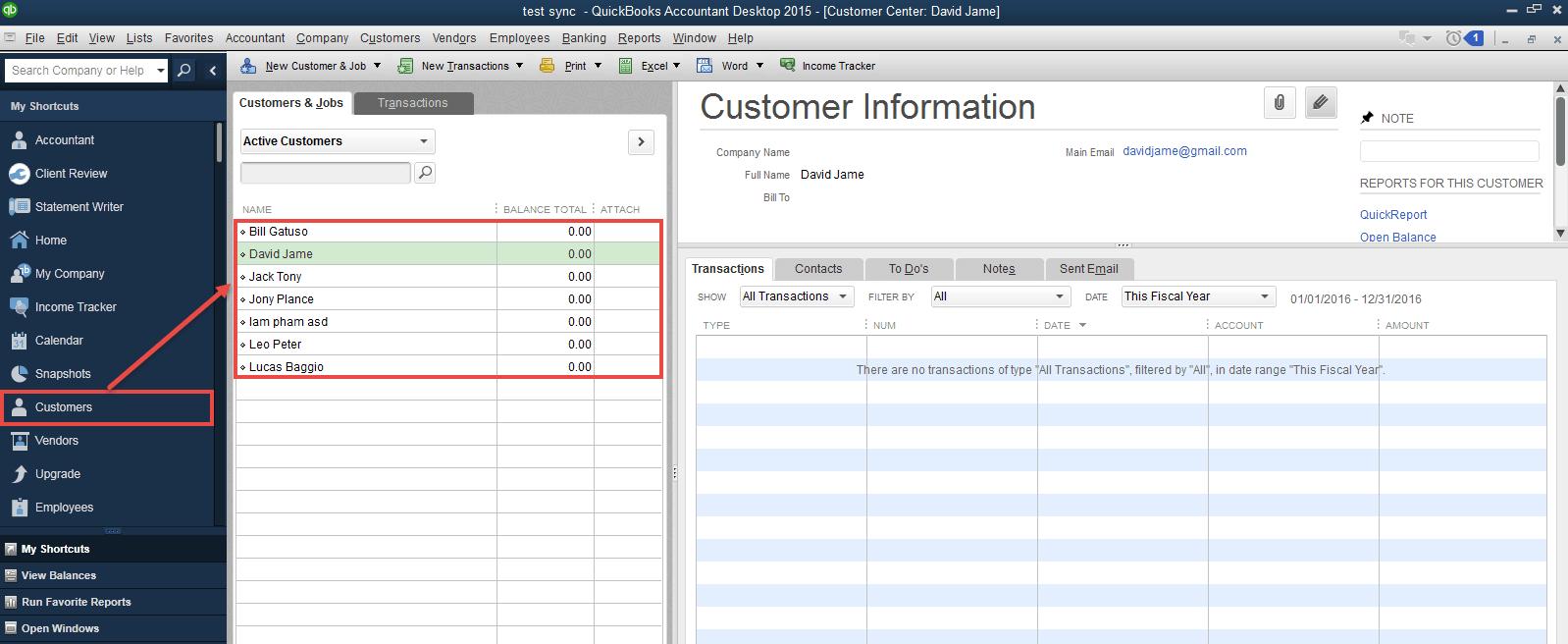 customer in Quickbooks Desktop