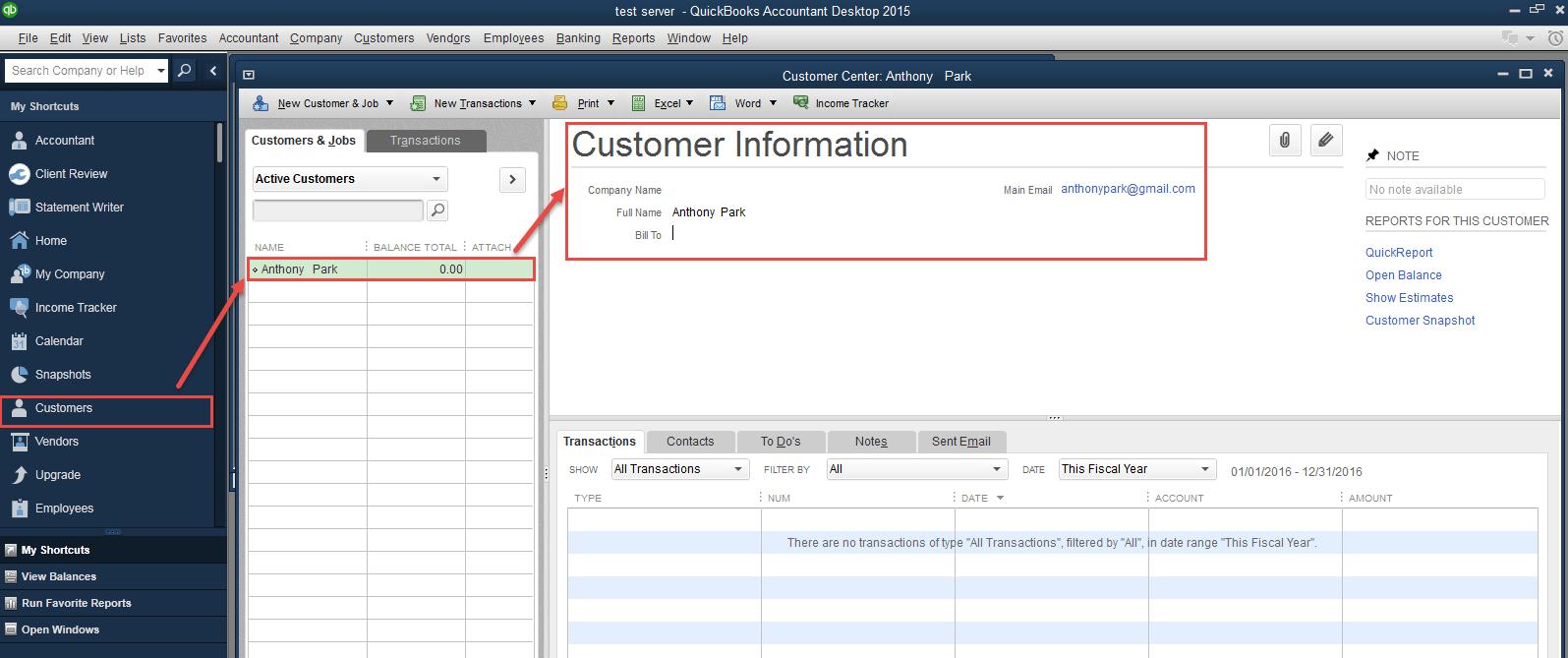 Customers in Quickbooks