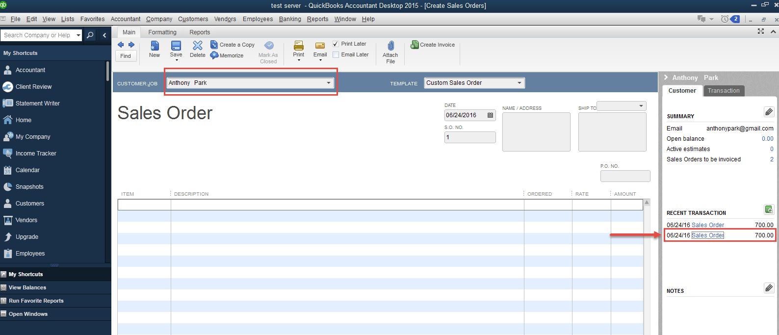 order in Quickbooks Desktop