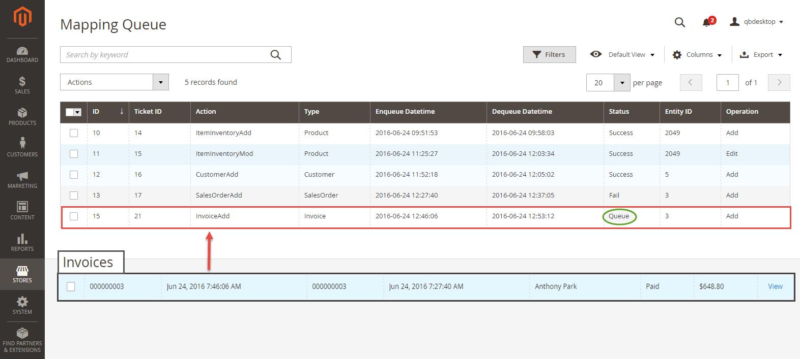 invoice in Magento 2