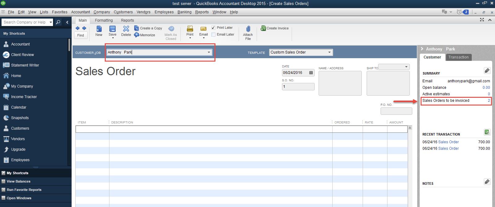 invoice in Quickbooks Desktop