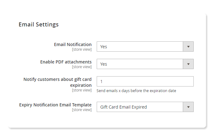 magento 2 gift card plus email setting