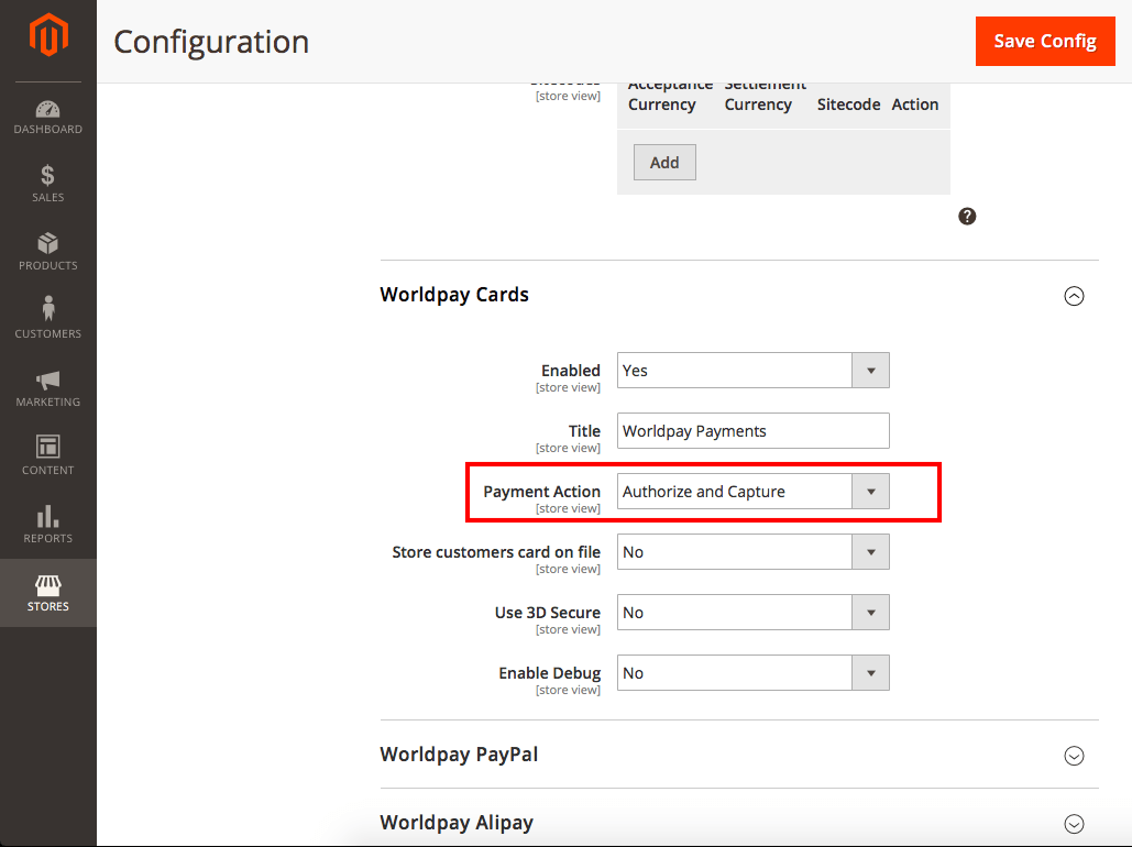 Magento 2 Worldpay Payment and Subscriptions Extension authorization and capture