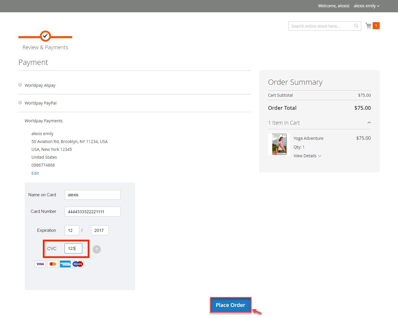 Magento 2 Worldpay Payment and Subscriptions Extension CVC
