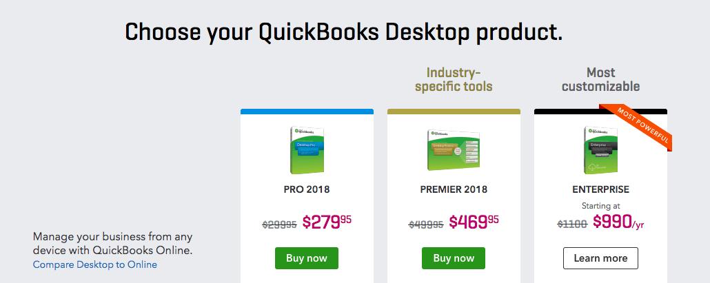 QuickBooks Desktop pricing