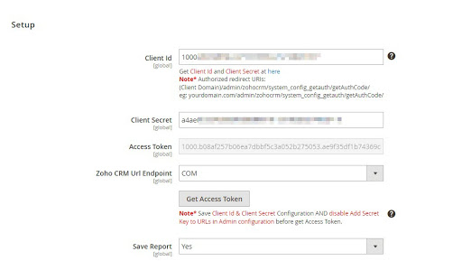 connect Zoho CRM to Magento 2: get-client-id