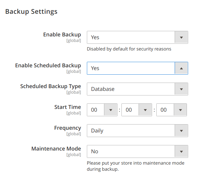 back up settings magento 2 backend