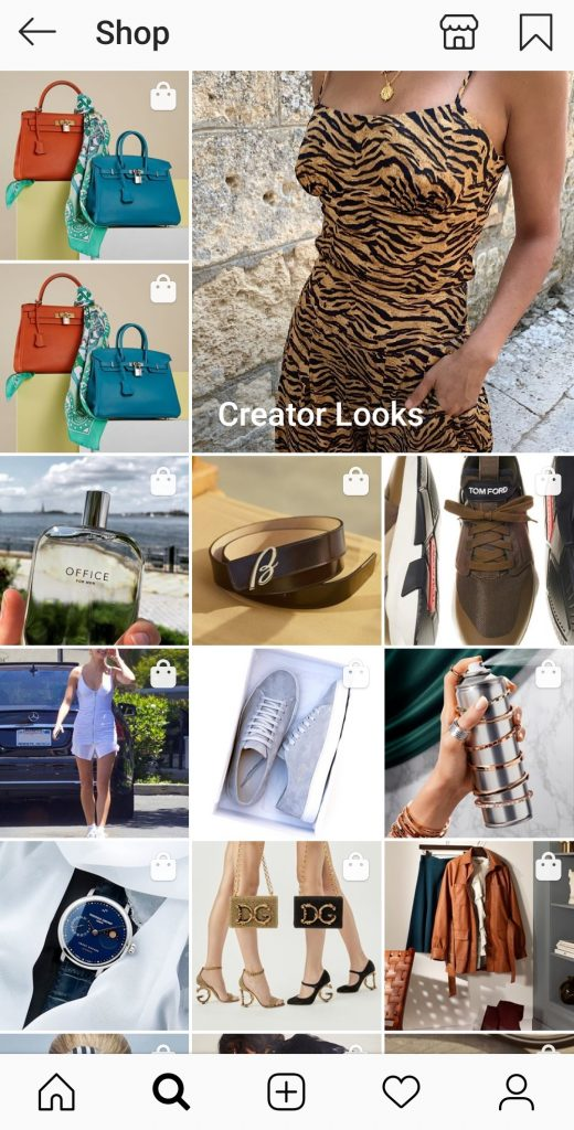 Instagram shopping features: Shopping explore tab