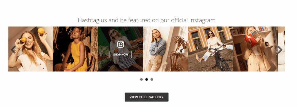 Magento 2 Instgram extension: Photo slider