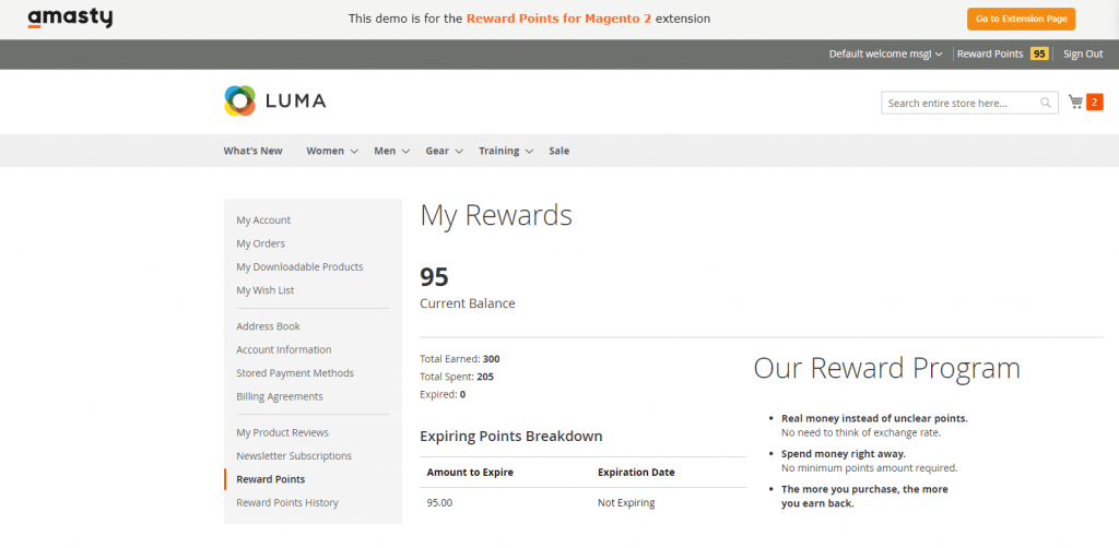 Magento 2 reward points: amasty
