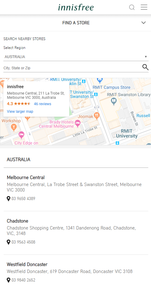 Store locator examples: Innisfree mobile page