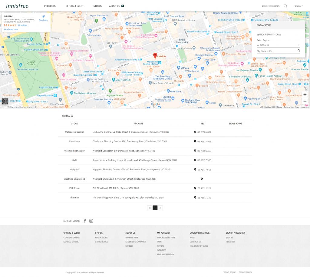 Store locator examples: Innisfree desktop page