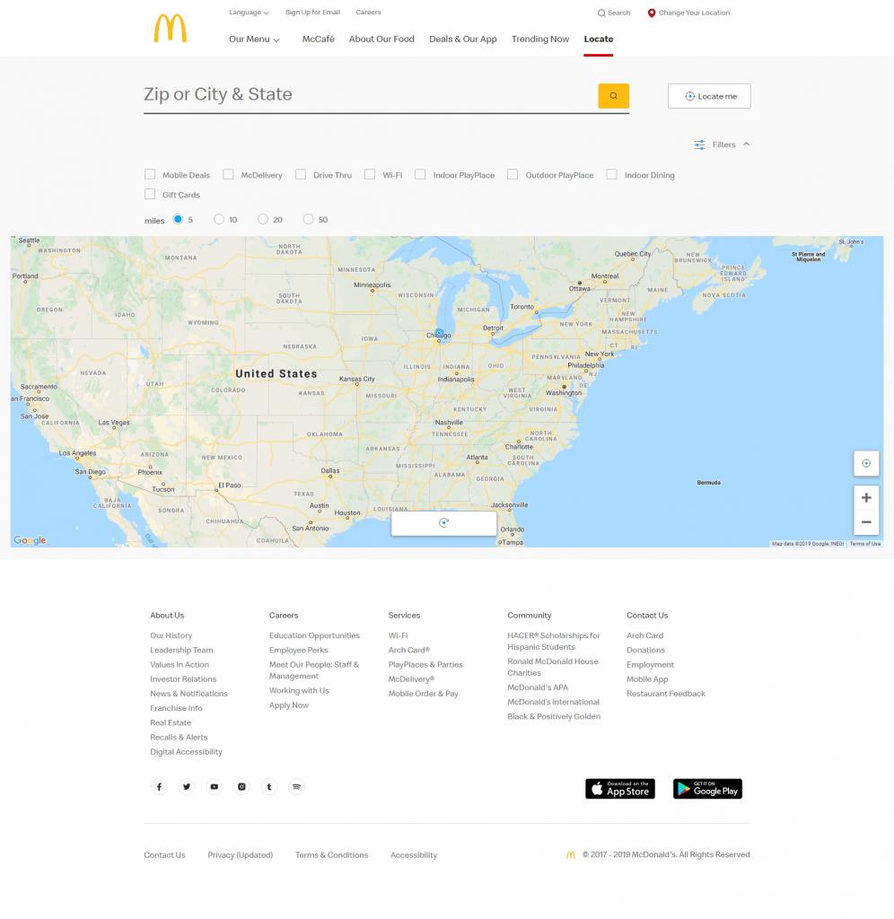 Store locator examples: McDonald's desktop page