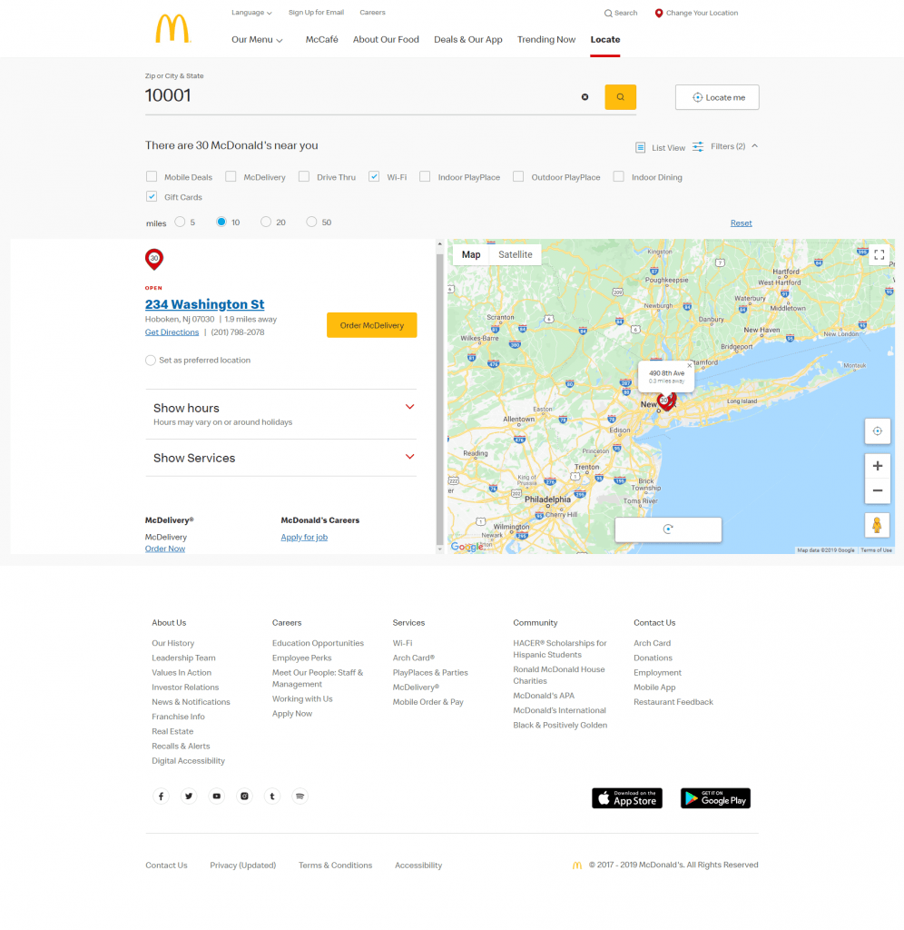 Store locator examples: McDonald's store detail
