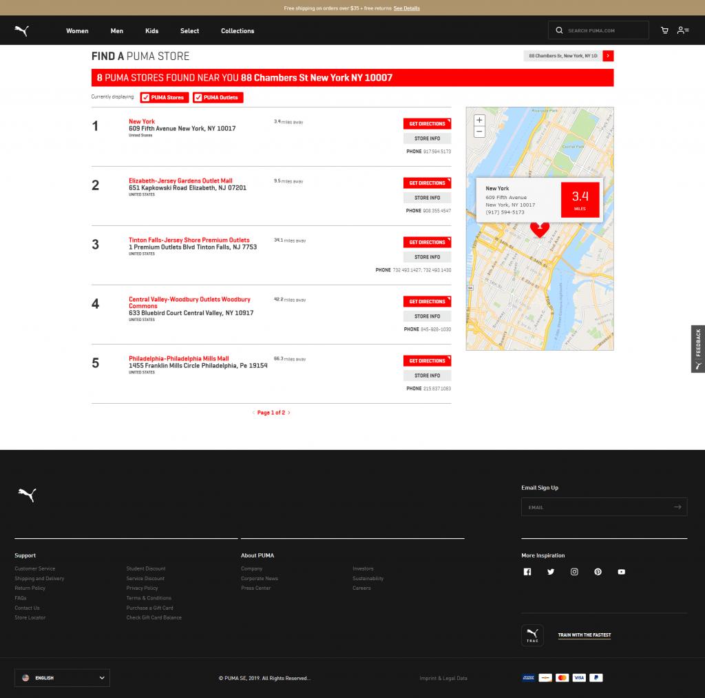 Store locator examples: Puma desktop page