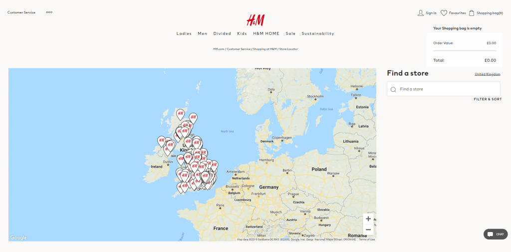 Store locator examples: H&M desktop page
