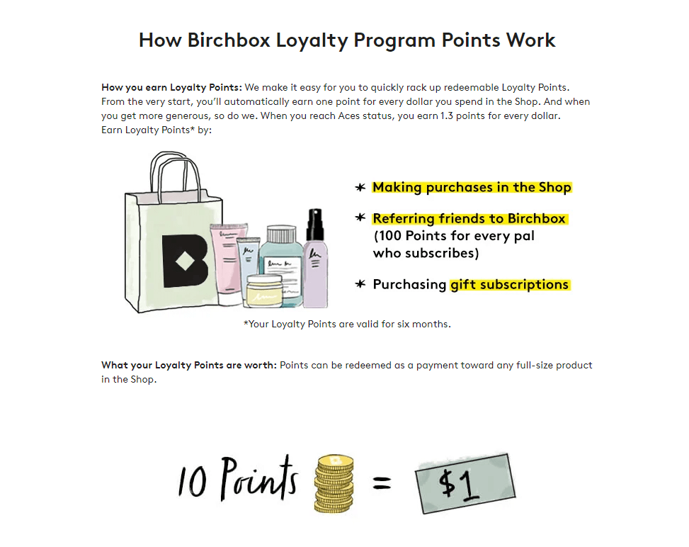 eCommerce Loyalty Program: cosmetic example